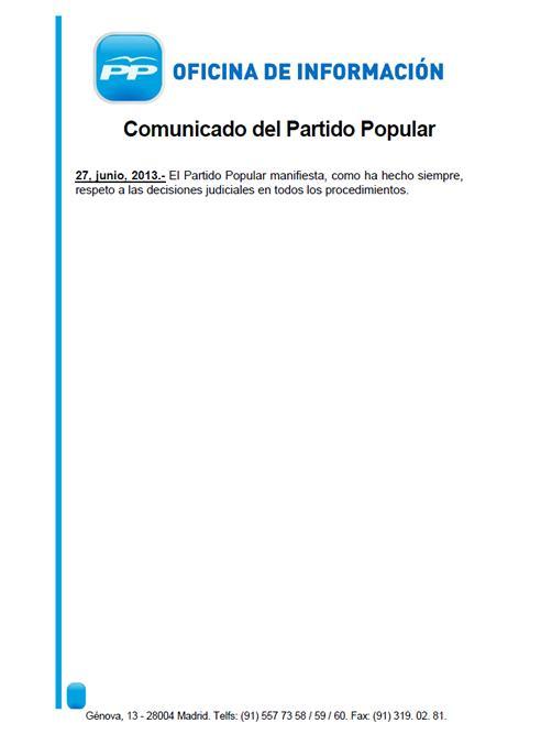 Imatge del comunicat de dues línies del PP sobre Bárcenas.