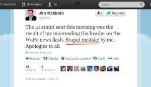 El tuit de disculpa de McGrath, el portaveu de George Bush. El subratllat en roig és meu.
